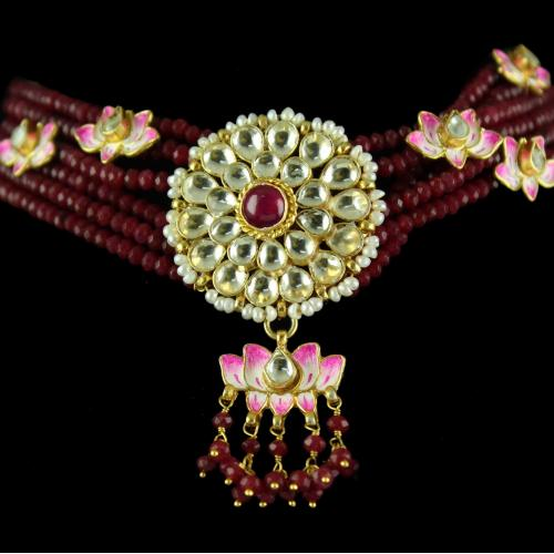 Silver Gold Plated Necklace Studded Kundhan Stones And Pearls
