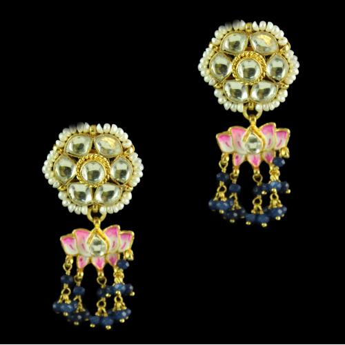 Silver Gold Floral Design Earrings Studded Kunthan Stones And Pearls Blue Beads