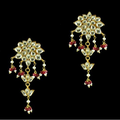 Silver Gold Plated Kuddan Stone Earrings
