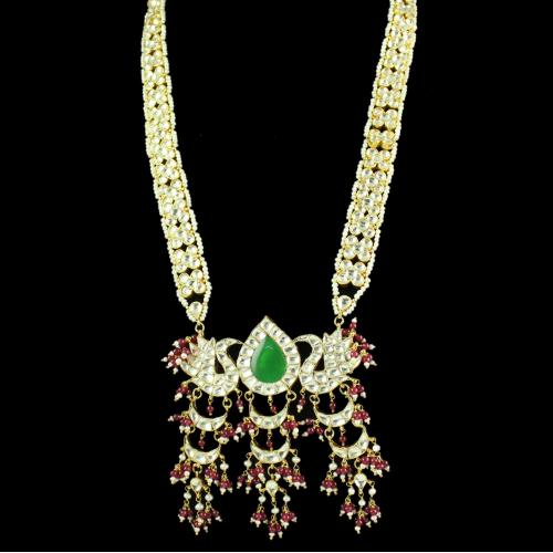 Silver Gold Plated Floral Design Necklace Studded Kundhan Stones And Red,Green Onyx With Pearls