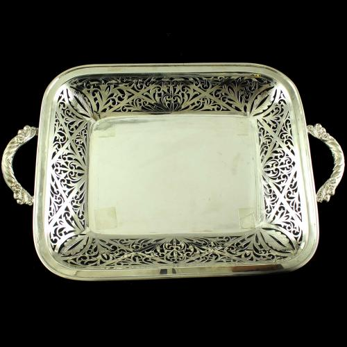Rectangle Shaped Floral Silver Plate