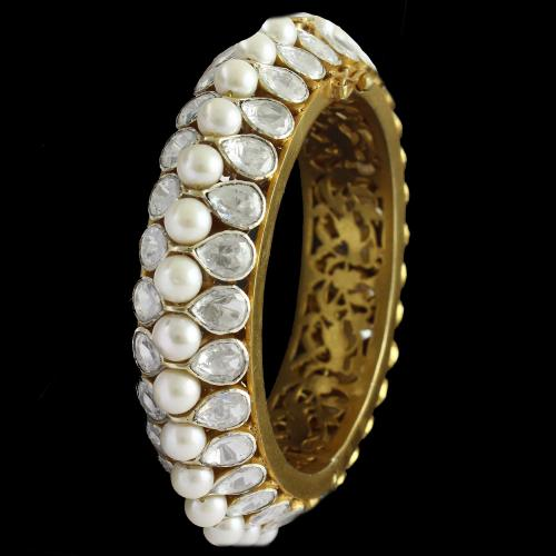 Silver Gold Plated Screw Bangle Kundhan And Pearls