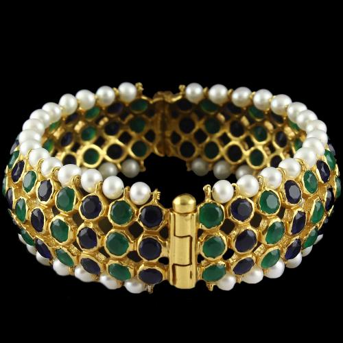 Silver Gold Plated  Bangle Green Onyx And Pearls