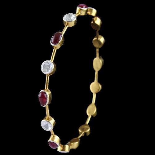 Silver Gold Plated Bangle Studded Red Onyx And Zircon Stones