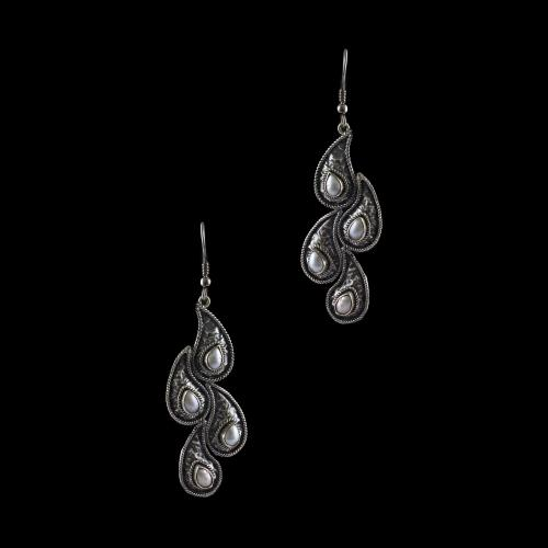 Silver Oxidized Hangging Earrings Studded Pearl
