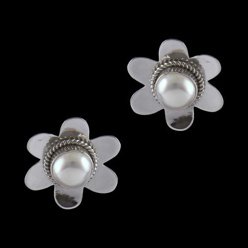 Silver Oxidized Casual Earrings Studded Pearl