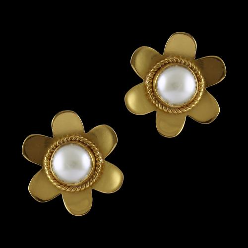 Silver Gold Plated Casual Earrings Studded Pearl