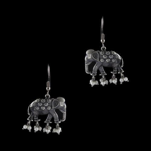 Silver Oxizided Elephant  Design Hanging Earrings With Pearls