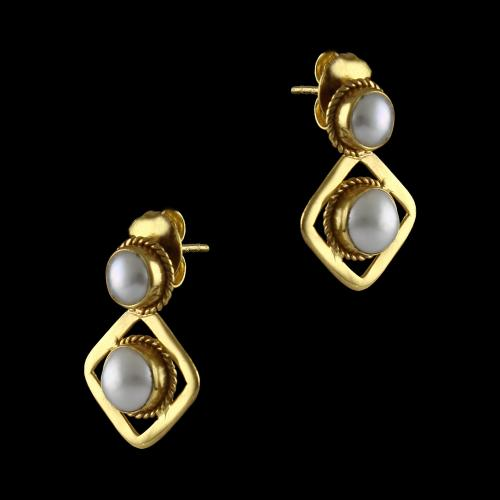 Silver Gold Plated Double Pearl Earrings