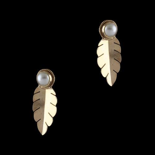 Silver Pearl Leaf Design Earrings