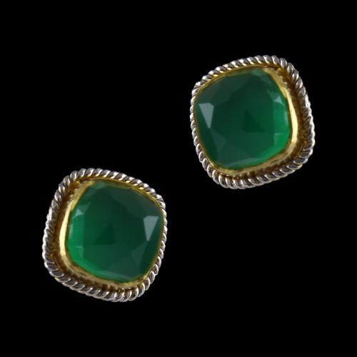 Gold Plated Stud With Green Onyx Stones