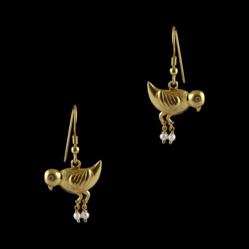 Silver Gold Plated Bird With Pearl Beads Design Earrings