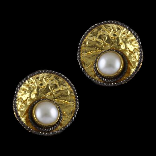 Silver Gold Plated Off Center Pearl Tops