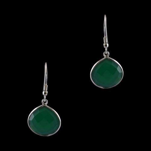 Silver Fancy Design Hanging Earrings Studded Green Onyx