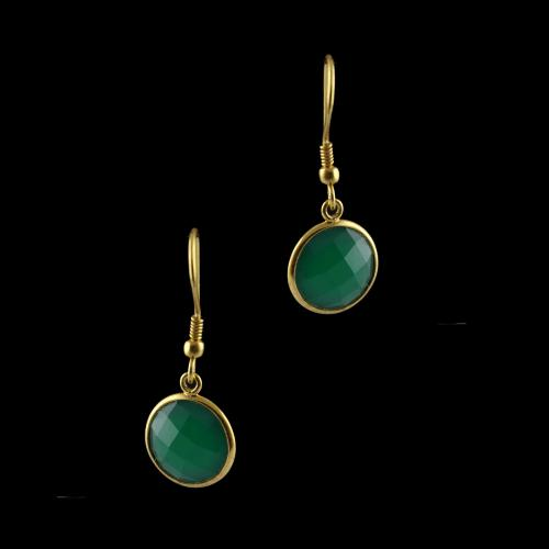 Silver Gold Plated Green Onyx Earrings
