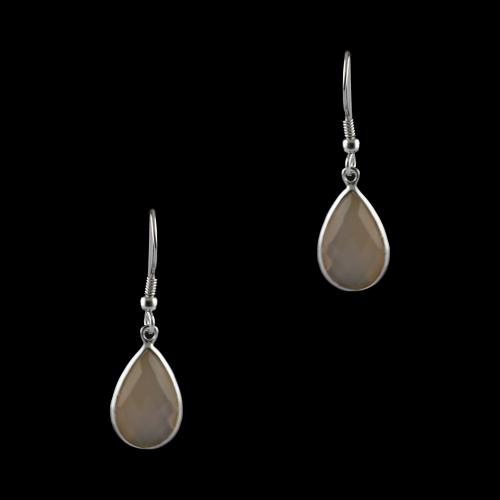 Silver Fancy Design Hanging Earrings Studded Pink Onyx
