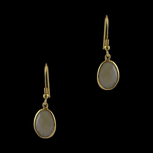 Silver Gold Plated Yellow Onyx Earrings