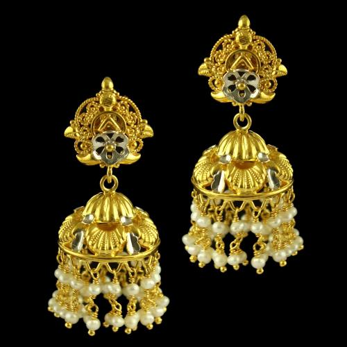 Silver Gold Plated Floral Design Earing Jhumka Studed Pearl And Pearl Beats