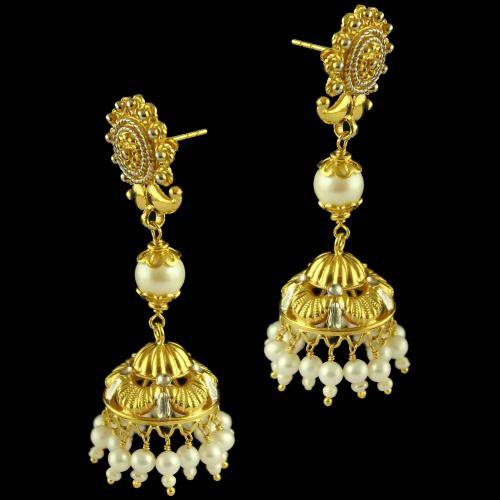 Silver Gold Plated Floral Design Earring Jhumka Studded Pearl And Pearl Beats