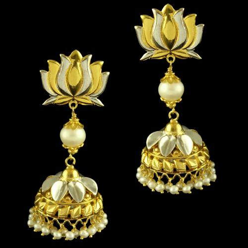 Silver Gold Plated Lotus Design Earring Jhumka Studded Pearl And Pearl Beats