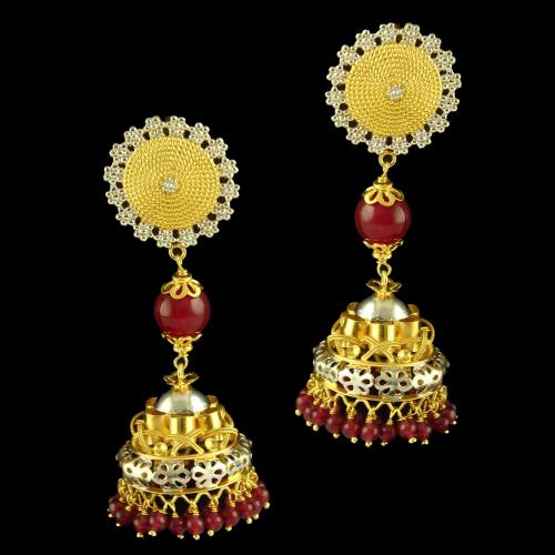 GOLD PLATED JHUMKAS EARRINGS WITH RUBY BEADS
