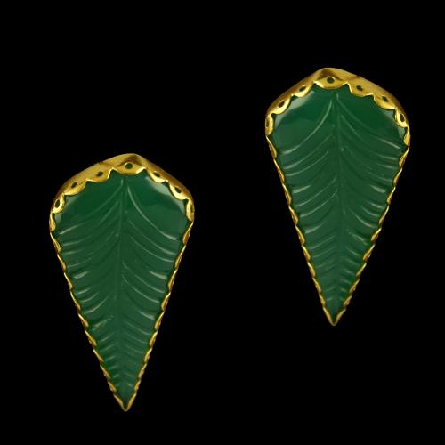Silver Gold Plated Fancy Design Casual Earrings Studded Green Onys