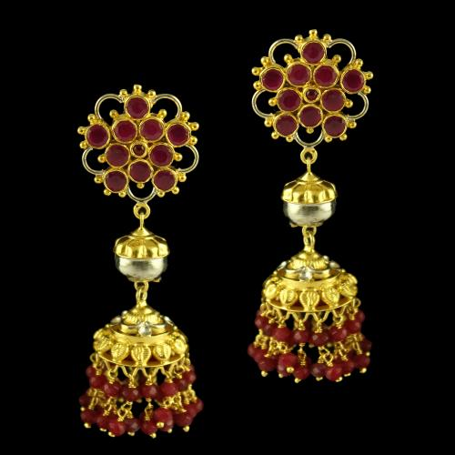 Silver Gold Plated Fancy Design Earring Jhumka Studded Red Onyx Red Beats