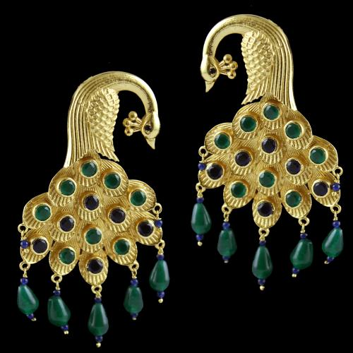 Silver Gold Plated Peacock Design Earring Drops Studded Green And Blue Onyx And Black Zircon