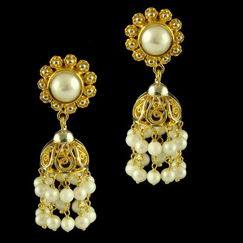 Silver Gold Plated Fancy Design Earring Jhumka Studded Pearl And Pearl Beats