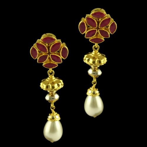 Silver Gold Plated Fancy Design Earring Studded Red Onyx And Pearl