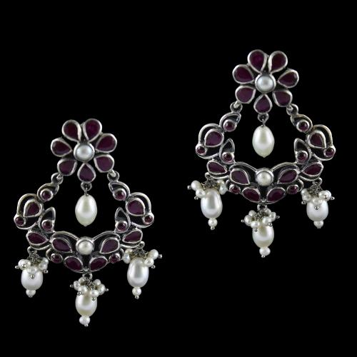 Silver Oxizided Floral Design Earrings Drops Red Onyx With Pearls