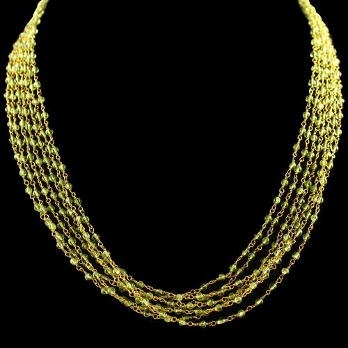 Silver Gold Plated Chain And Necklace Peridot Beads