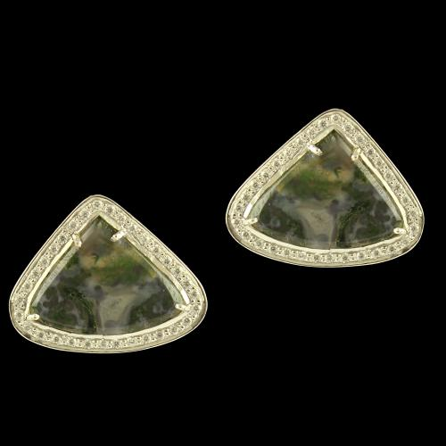 Silver Earrings Studded Moss Agate And Zircon Stones