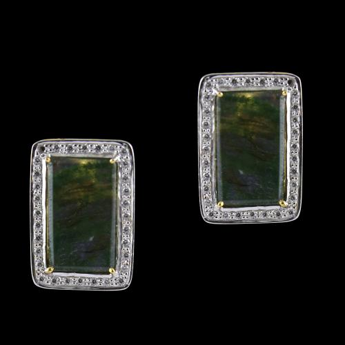 Silver Gold Plated Earrings Studded Moss Agate And Zircon Stones