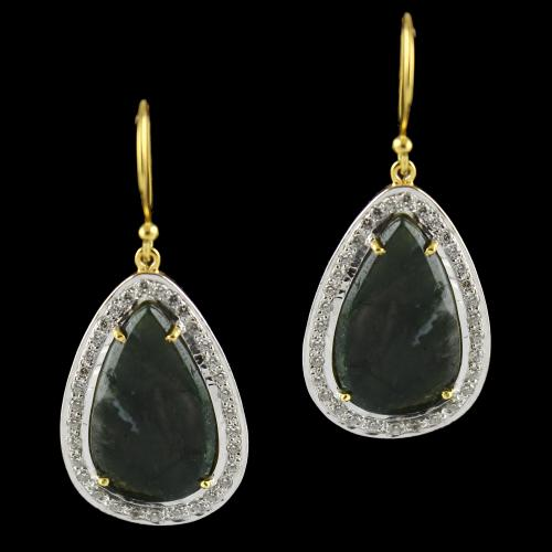 Gold Plated Earrings Studded Moss Agate And Zircon Stones