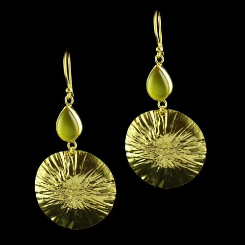 Silver Gold Plated Hanging Earring Studded Yellow Onyx Stones
