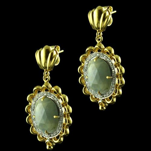 Gold Plated Hanging Earrings Studded Catseye Stone