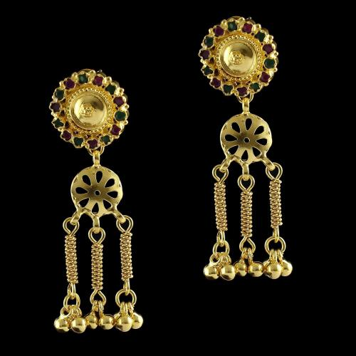 Silver Gold Plated Drops Earring Red Onyx Stones