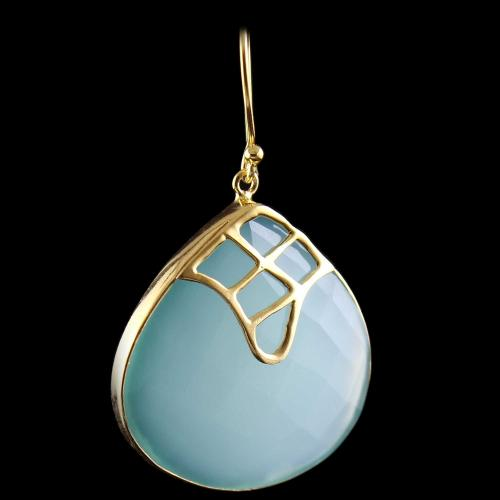 Silver Gold Plated Hanging Earring Chalcedony