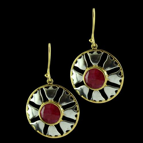 Silver Gold Plated Floral Design Hanging Earring Ruby
