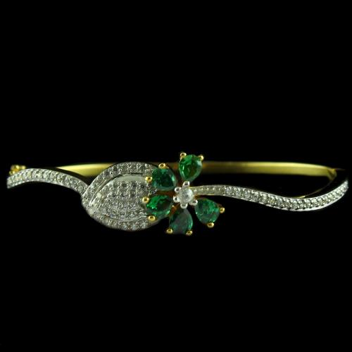 Gold Plated Casual Bracelets With Zircon Stones And Green Onyx