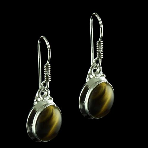 Silver Hanging Earring Studded Tiger Eye
