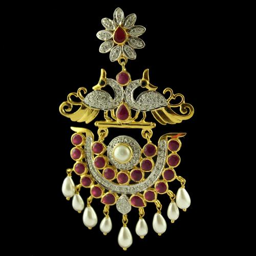 Gold Plated Earring Drops Studded Ruby And Zircon Stones