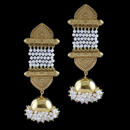 Gold Plated Earring Drops Studded red onyx with Pearls
