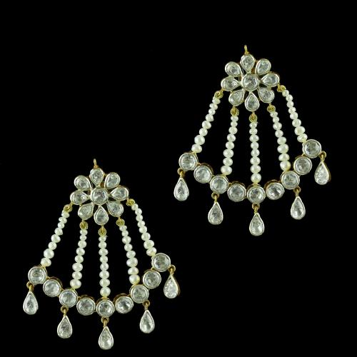 Gold Plated Drops Earring Studded Polki Stone With Pearls