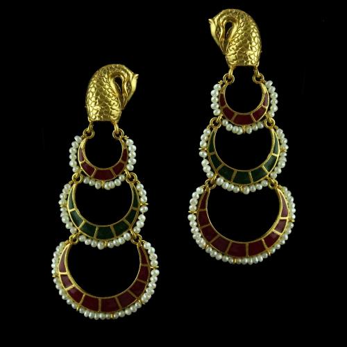 Silver Gold Plated Peacock Design Chandbali Earring Studded Red Green Onyx Stones And Pearls
