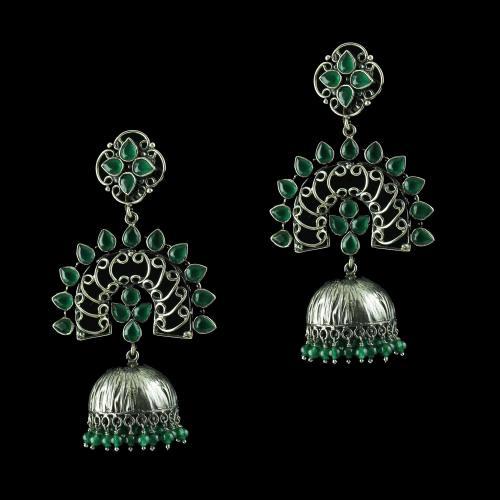 oxidized jhumka Studded Green Onyx Stones