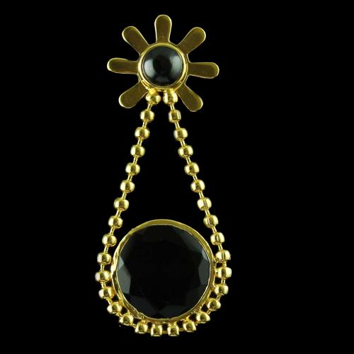 Gold Plated Earrings Drops Black Onyx Stones