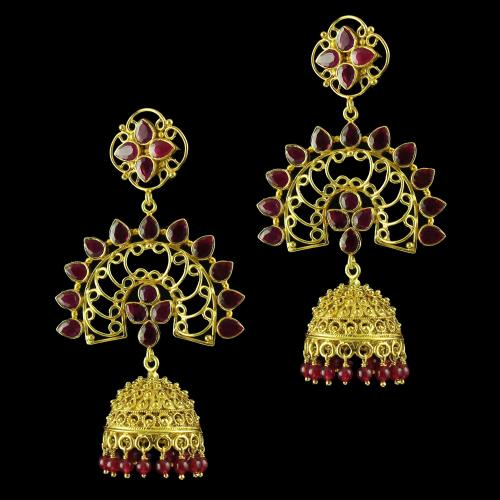Gold Plated God Design Earring Jhumka Studded Red green Onyx And