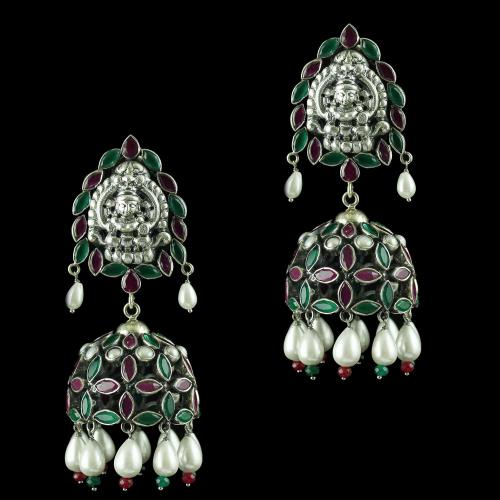 Oxidised Earring Jhumka Red Green Onyx Stones And Pearls